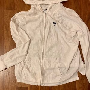 White zip sweatshirt by PINK made for warm weather